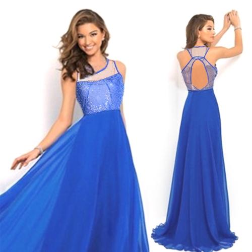 Frauen-elegantes Maxi-Kleid-hohe Taillen-Drucken A-line Boden-Längen-Partei-Kleid-Abschlussball-Kleid-Hochzeits-Kleid