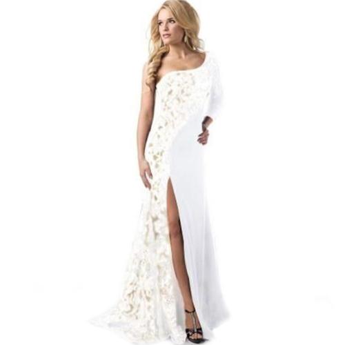 Elegante vestido de cóctel de encaje de señora de las mujeres Vestido de noche largo de baile de graduación de un hombro atractivo