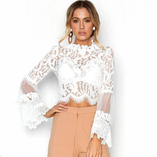 Sexy Women Floral Lace flared Sleeve Bluzka Transparent Mesh Z długim rękawem Eleganckie Party Slim Top White