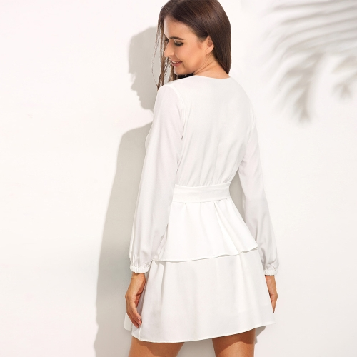 Sexy Women Deep V Neck Chiffon Dress Long Sleeve Tie Waist Layered Ruffle Party Club Mini Dress White