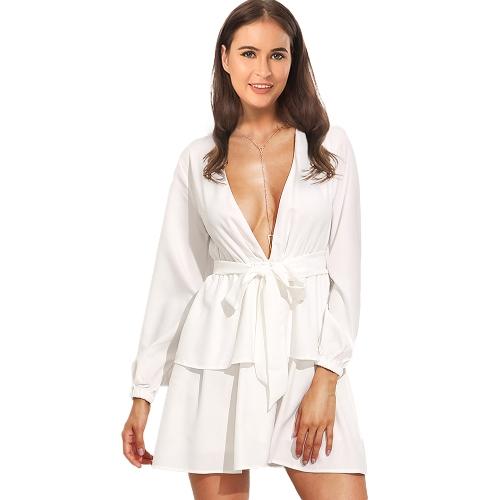 Sexy Women Deep V Neck Chiffon Dress Long Sleeve Tie Cintura em camadas Ruffle Party Club Mini Dress White