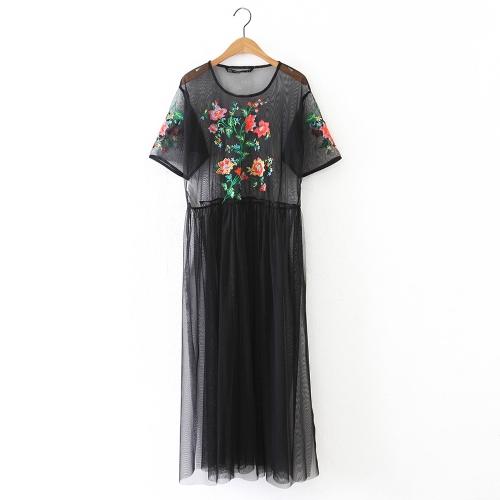 Vestido maxi transparente de la nueva mujer sexy bordado de la flor Vestido maxi corto de la raja del lado de la malla transparente negro