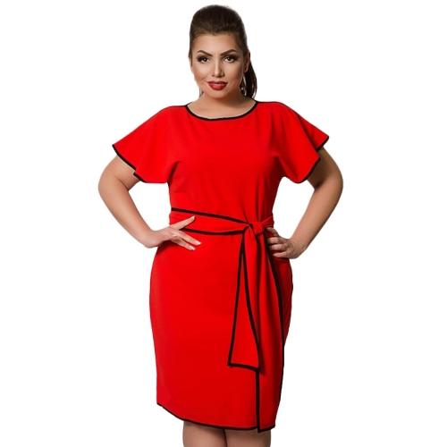 Moda Mulheres Grande Tamanho Vestido de manga de borboleta Contraste Trim Plus Size Elegante vestido de escritório com faixas