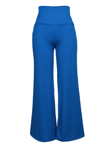 Casual Women High Waist Wide Leg Pants Side Zipper Solid Color Oversize Flare Long Loose Yoga Trousers
