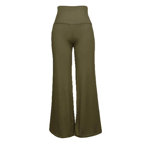 Pantalones de pierna ancha casual de cintura alta para mujer Pantalones de pierna ancha de color sólido con cremallera lateral de cremallera lateral holgada