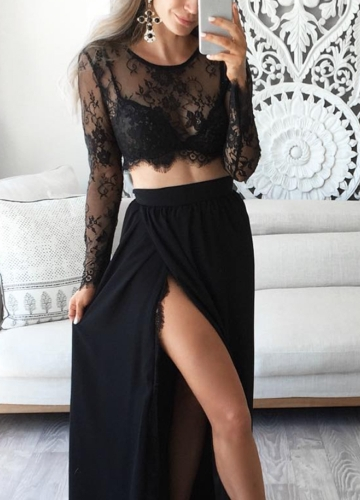 Sexy Women Sheer Floral Lace O-Neck Long Sleeve Mesh Crop Top
