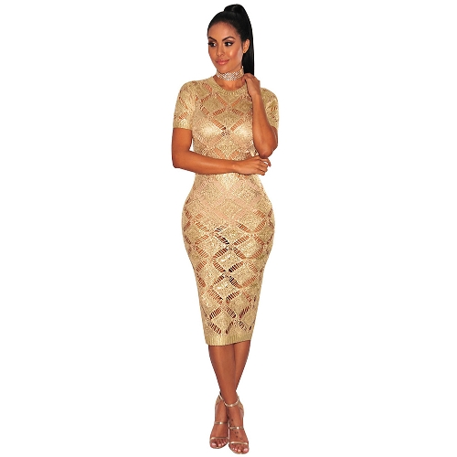 Women Hollow Out Sukienka z dzianiny Krótkie rękawy Sheer See-through Midi Night Club Party Dress
