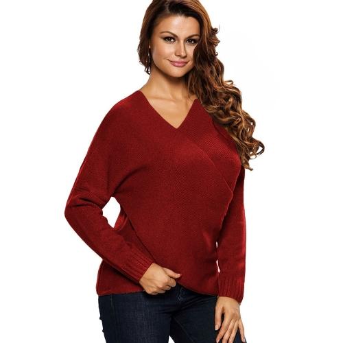 Nuevas mujeres suéter de punto suelto cruzado profundo con cuello en v de manga larga jerseys sólidos Top prendas de punto