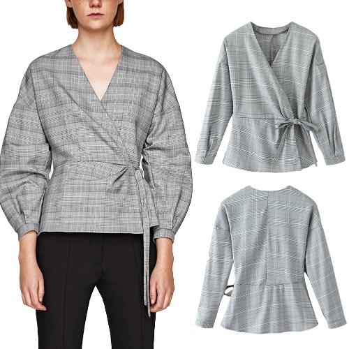Moda mujer cuadros camisa a cuadros con cuello en V manga larga cruzada frente del vendaje delgado blusa Tops gris