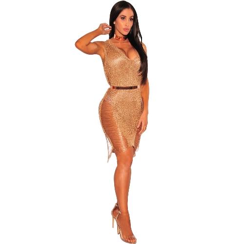 Las mujeres ahuecan hacia fuera el vestido de fiesta sin mangas del cuello partido sin mangas del cuello profundo V sin mangas