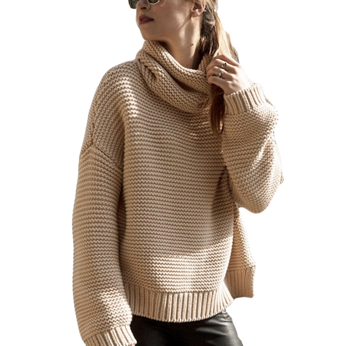 New Women Loose Knitted Sweater High-Neck Long Sleeve Solid Warm Turtleneck Pullovers Top Knitwear