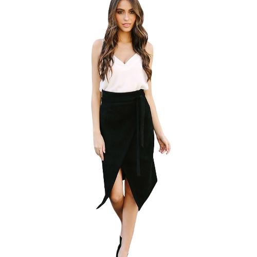 Women Skirts Solid Color Irregular High Waist Elegant Split Pencil Skirt Black/Pink