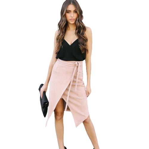 Faldas de mujer de color sólido Irregular de cintura alta Elegante falda de tubo dividido negro / rosa