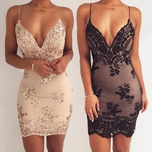TOMTOP / Nueva Sexy Women con lentejuelas bodycon correa de espagueti vestido profundo V cuello Backless night club vestido de fiesta negro / oro