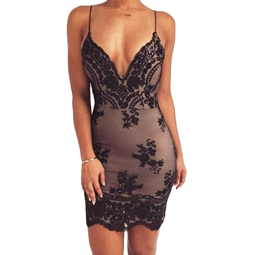 New Sexy Women Sequined Bodycon Vestido Strap Spaghetti Deep V Neck Backless Night Club Party Dress Black / Gold