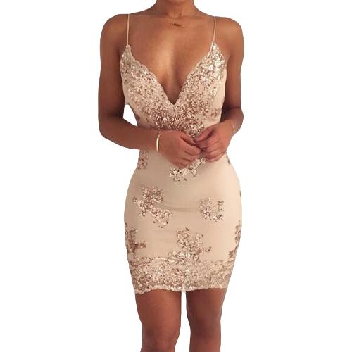 Nueva Sexy Women con lentejuelas bodycon correa de espagueti vestido profundo V cuello Backless night club vestido de fiesta negro / oro