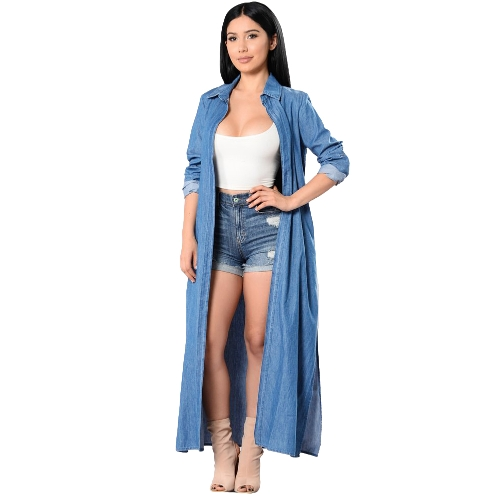 Mulheres Denim Trench Coat Open Front Cachoeira Long Sleeve Split Casual Outono Inverno Outwear Azul