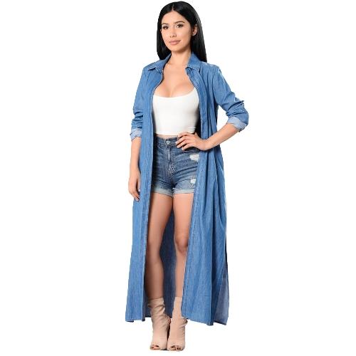 Mujeres Denim Gabardina Frente Abierto Cascada Manga Larga Dividida Casual Otoño Invierno Outwear Azul