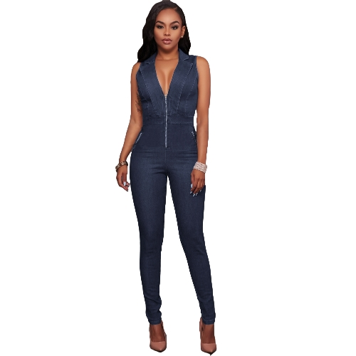 Sexy Women Denim Jumpsuit Shawl Lapels Deep V Zipper Alta cintura Bodycon Night Partywear Azul escuro