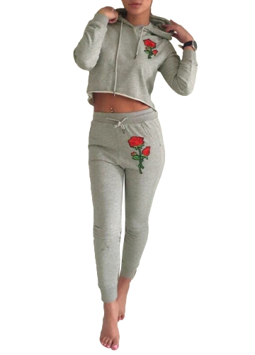 Fashion Women Tracksuit Floral Embroidery Hoodie Long Sleeve Sweatshirt Long Pants Sportswear 2 Piece Set Suits Grey
