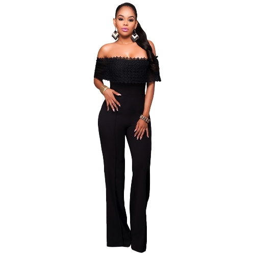 Mujeres Sexy Jumpsuit Off Shoulder Crochet Lace Elegante Casual Long Mamelucos Bodycon Body Negro