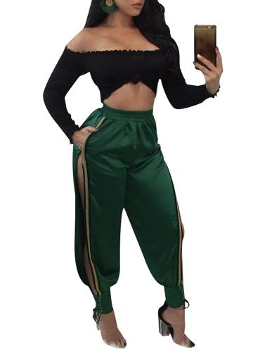 Sexy Women Long Pants High Split Striped Casual Loose Solid Track Pants Calças de cintura alta Verde
