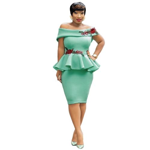 Mulheres Lápis Peplum Vestido Bordado Ruffles Off Shoulder Bodycon Slim Club Vestidos Vestido Melancia Vermelho / Verde