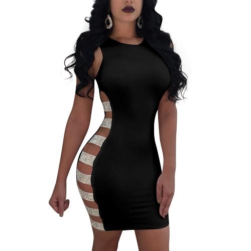 Frauen Open Side Dress Sleeveless aushöhlen Hülle Mini Night Club Party Dress