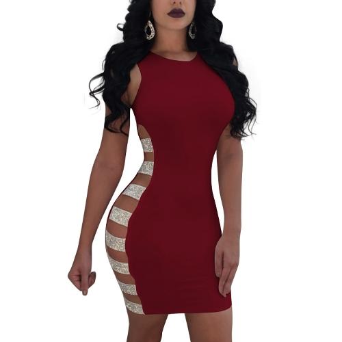 Las mujeres abren el vestido lateral sin mangas ahueca hacia fuera el mini vestido de fiesta del club nocturno
