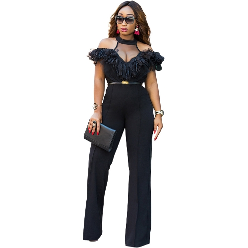 New Sexy Women Cold Shoulder Wide Leg Jumpsuit Sheer Mesh Ruffle Clubwear Romper Geral Preto