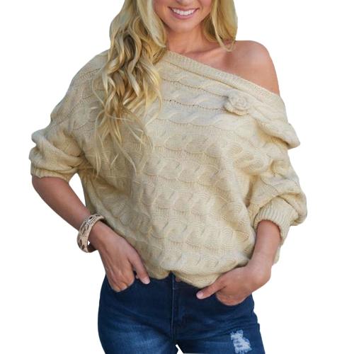 Nuevas mujeres de gran tamaño de punto jersey Slash cuello fuera del hombro Flare Sleeve Top prendas de punto Beige / púrpura