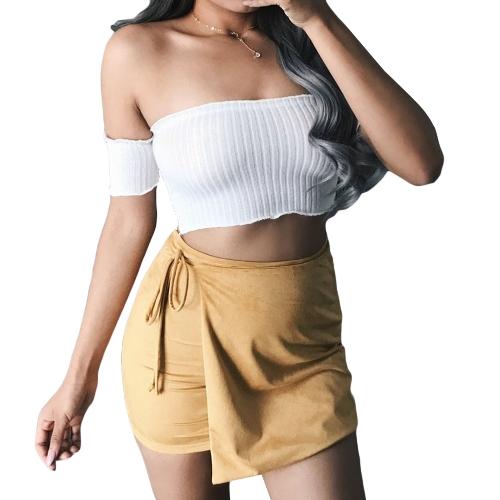 Top corto de mujer sexy fuera del hombro mangas cortas Slash cuello casual delgada blusa corta