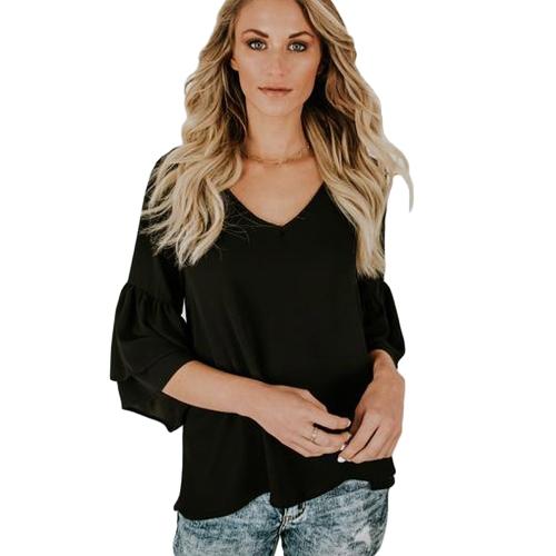 Mulheres Blusa Camisa Top V pescoço Ruffles Flare Sleeve Sólido Loose Casual Top Preto / Branco / Azul escuro