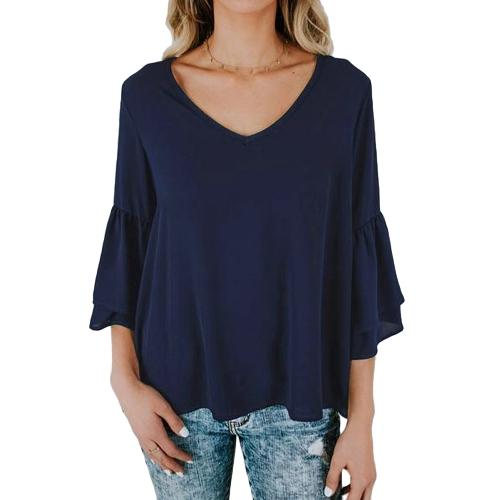 Camisa de la blusa de las mujeres Top volantes cuello en V Manga flare Sólido flojo Casual Top negro / blanco / azul oscuro