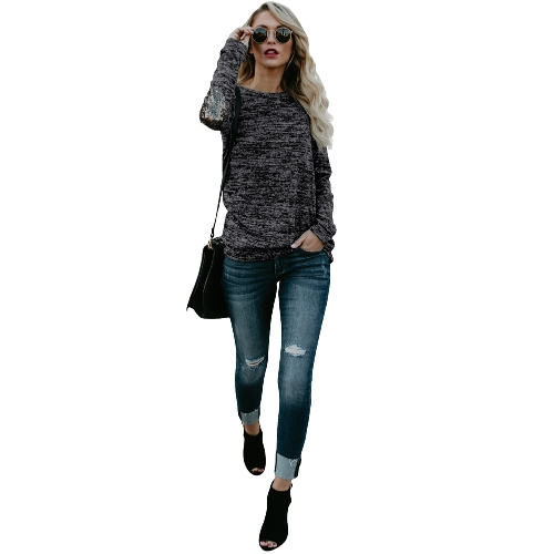 Mulheres manga comprida T Shirt Sequin Patch O-Neck Contrast Casual Pullover Tops Tee