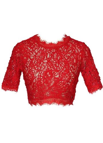 TOMTOP / Sexy Women Sheer Lace Crop Top O-Neck manga curta Crochet Tank Top Slim Short T-shirt