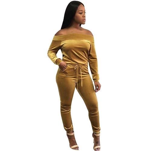 Mujer de dos piezas con hombros descubiertos Pantalones de terciopelo con cordón Manga larga Bodycon Noche Sexy Clubwear Amarillo