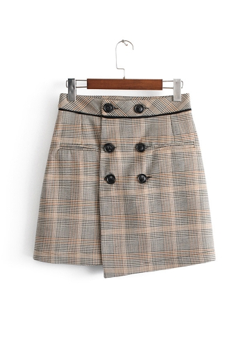 Women Skirt Tweed Plaid Buttons High Waist Above Knee Mini Casual Autumn Winter Skirt