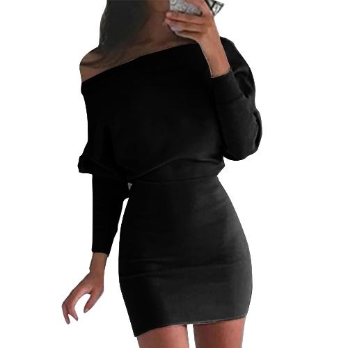 New Fashion Women Casual Dress Solid Manica lunga Off the Shoulder Mini abito lungo Boho Nero / Cachi / Rosso