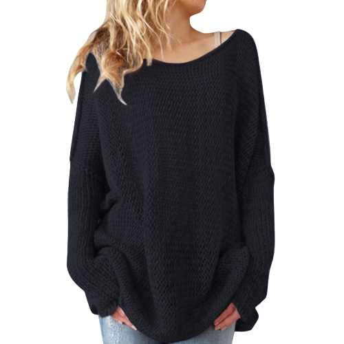 Women Sweater und Pullover O-Neck Strickpullover Thick Knitting Tops Übergroßer lockerer Longpullover