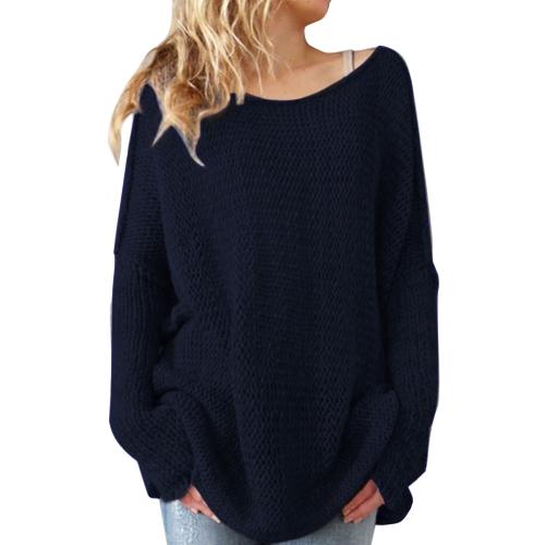 Suéter y jersey de mujer Suéter de punto con cuello ovalado Suéter de punto grueso Suéter de tiro largo holgado informal de gran tamaño