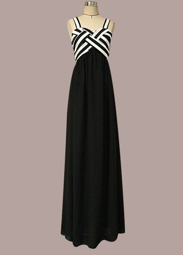 Women Stripe Chiffon Dress Contrast Color Spaghetti Strap Ruffle Long Dress Black