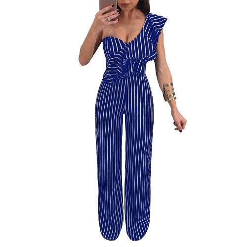 Mujeres Sexy Striped Ruffle mono de pierna ancha Solo hombro de cintura alta Party Club Slim Rompers Playsuit