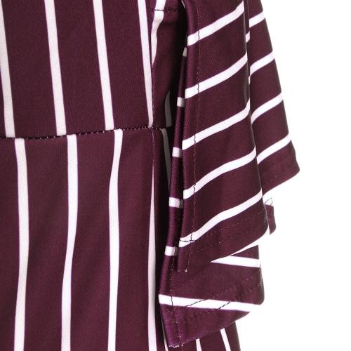 TOMTOP / Mujeres Sexy Striped Ruffle mono de pierna ancha Solo hombro de cintura alta Party Club Slim Rompers Playsuit