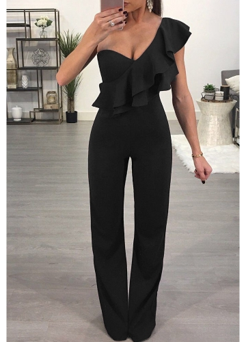 Mulheres Jumpsuit Ruffle One-Shoulder Sleeveless Casual Long Romper Body Suits