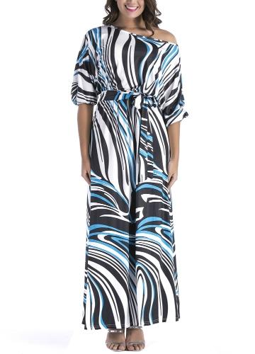 Vestido de mujer talla grande estampado de cebra fuera del hombro cintura elástica media manga mangas largas vestidos largos