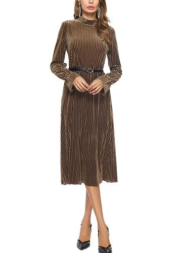 Vestido de terciopelo de las mujeres vestido de la raya del cinturón de manga larga Midi vestidos de una línea