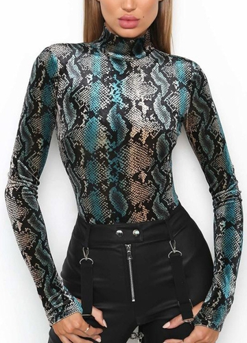 Mulheres Bodysuit Top Sexy Rompers High Neck Snake Printed Club Jumpsuit Long Sleeves Playsuit Blue