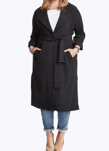 Abrigo largo con solapa cruzada solapa de las mujeres