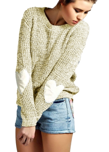 Mulheres novas Loose Tricotado Sweater Elbow Heart Patch Solid Long Sleeve Casual Knit Pullover Jumper